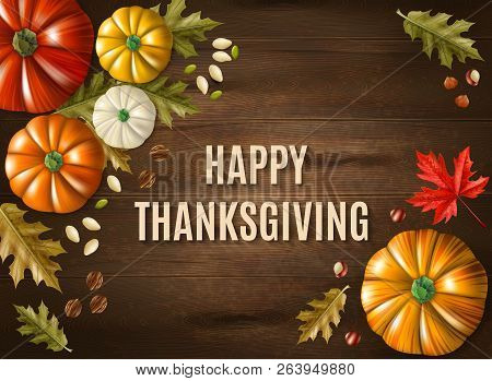 Multicolored Thanksgiving Day Poster With Big Headline Happy Thanksgiving On Wooden Background Vecto