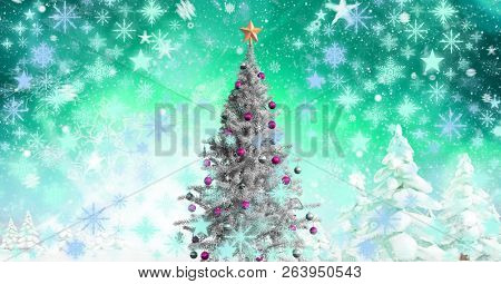 Digital composite of Christmas tree in Winter landscape with snowflakes