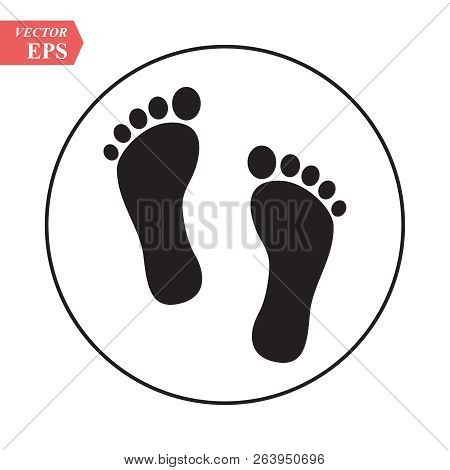 Foot Print Icon. Bare Foot Print Black On White Feet Icon Vector , Stock Vector Illustration Flat De
