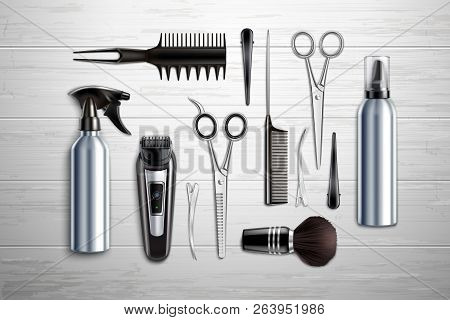 Hairdressing salon barber shop tools collection realistic top view with scissors trimmer clipper monochrome wooden background vector illustration poster