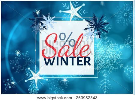 Digital composite of Winter Sale with different snowflakes in blue tones