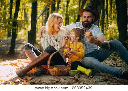 Camping With Kids. Father Mather And Son Camping. Parent Teach Baby. Dad Mom And Son Playing Togethe