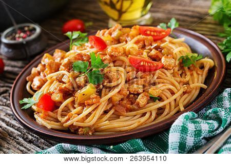 Spaghetti Bolognese Pasta With Tomato Sauce, Vegetables And Minced Meat - Homemade Healthy Italian P