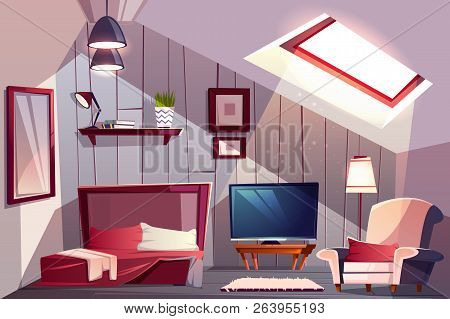 Cozy Attic Bedroom Or Guest Room Interior With Uncovered Bed, Classic Armchair And Tv Set Cartoon Ve