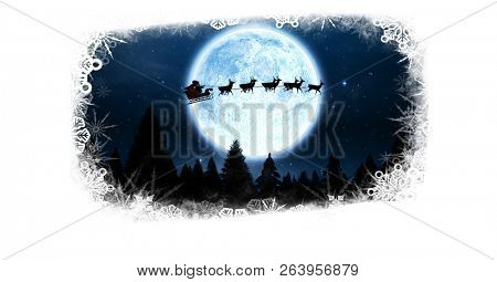 Digital composite of Christmas snowflake border with Santa and reindeer in sleigh flying over moon forest