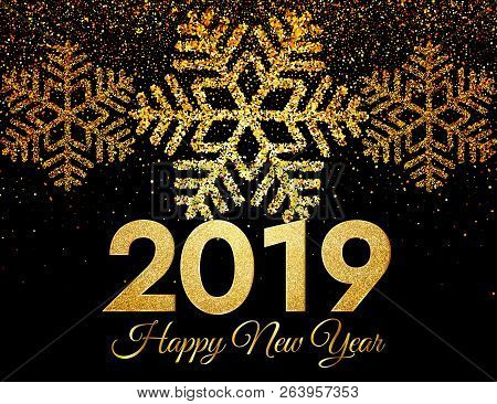 2019 Happy New Year. Golden Confetti And Snowflakes On Dark Background. New Year 2019 Greeting Card.
