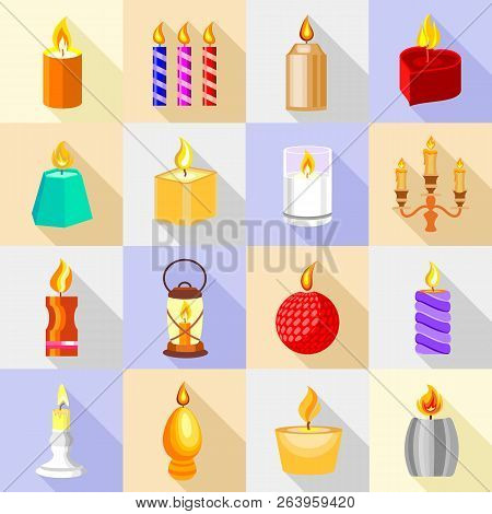Candle Forms Icons Set Flame Light. Cartoon Illustration Of 16 Candle Forms Flame Light Icons For We