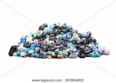 Big Pile Of Garbage In Black Blue Trash Bags Isolated On White Background. Ecology Concept. Pollutio