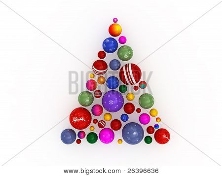 3D Christmas Tree Made Of Globes