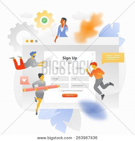 Vector Illustration Of A Big Screen With Sign Up Form Surrounded By Tiny Users. A Metaphor Of Fillin
