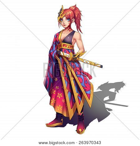 Cold,elegant,hot Beautiful Samurai Girl With Swords.anime And Cartoon Style Isolated On White Backgr