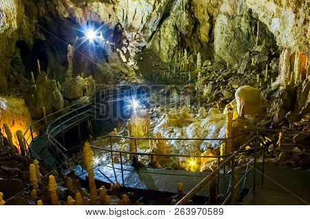 Apuseni, Romania - Oct 04, 2015: Hall Of Ursus Spelaeus Cave In North-west Romanian Mountains Bihor