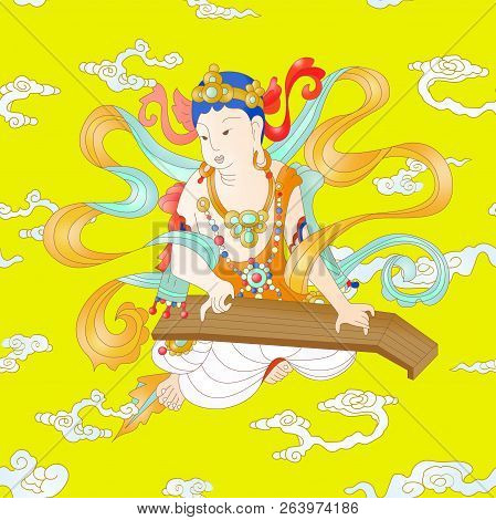 Seamless Background For Bodhisattva. Bodhisattva Is One Of The Representative People In Buddhism
