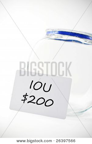 IOU Note with Empty Change Jar for financial loan concepts poster