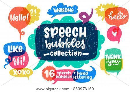 Big Set Of Cool Hand Drawn Speech Bubbles And Hand Lettering Essential Words - Hello, Hi, Welcome, E