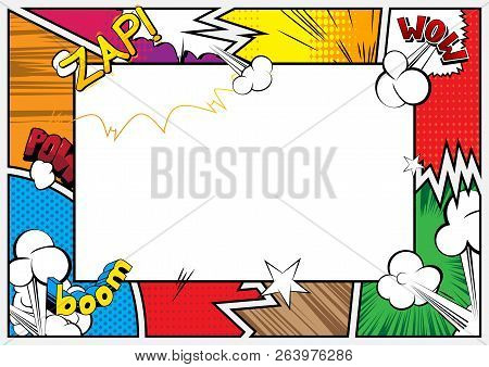 Pop Art Background With Place For Text. Comic Book Frame. Cartoon Retro Vector Illustration Drawing