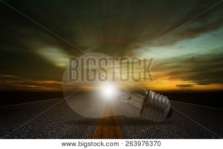 Business Solution, Solving Problem, Strategy And Planning Concept, Light Bulb On Road Background
