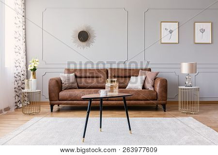 Minimal Interior Design Of Living Room With Brown Leather Couch, Retro Armchair Coffee Table And Gol