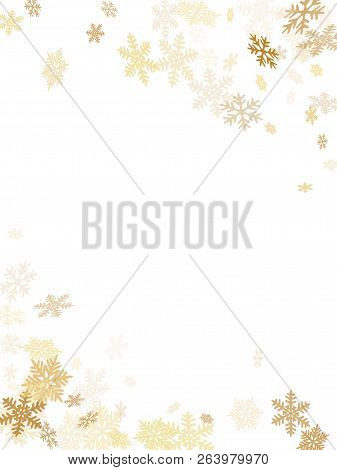Winter Snowflakes Border Magic Vector Background.  Macro Snowflakes Flying Border Design, Holiday Ca