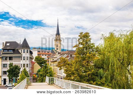 Villach, Austria - September 15,2018 - View At The Old City Centre Of Villach. Villach Is The Sevent