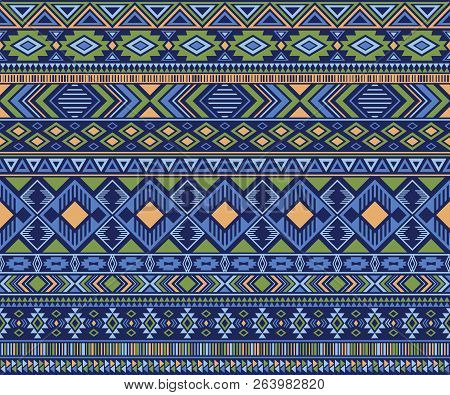 Peruvian American Indian Pattern Tribal Ethnic Motifs Geometric Seamless Background. Bohemian Native