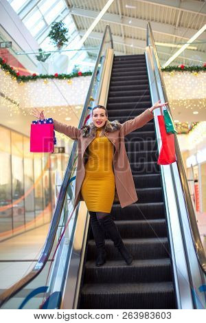 Shopping- Happy Smiling Girl In Holidays Shopping Consumerism, Christmas, Shopping, Lifestyle Concep