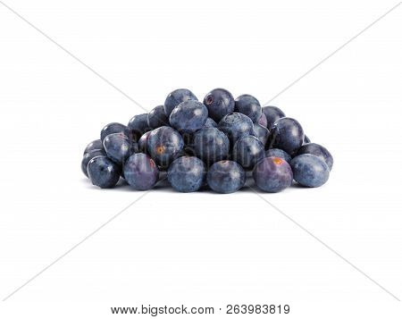 A Pile Of Blueberrieson On A White Background