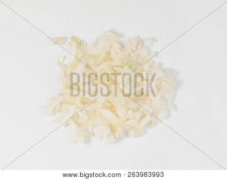 Some Diced Onion On A White Background