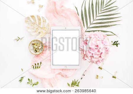 Blank Screen Tablet, Pink Hydrangea Flowers Bouquet, Tropical Palm Leaf, Pastel Blanket, Monstera Le