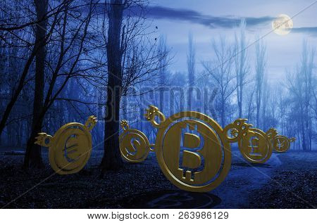 Currency Bears On The Path Through Foggy Forest At Night In Full Moon Light. Crypto Or Trade Hallowe