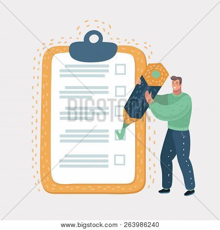 Checklist Clipboard. Smiling Man Or Businessman Holding A Pencil In His Hand And Doing Mark. Questio
