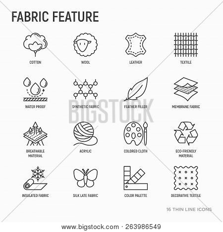 Fabric Feature Thin Line Icons Set: Leather, Textile, Cotton, Wool, Waterproof, Acrylic, Silk, Eco-f