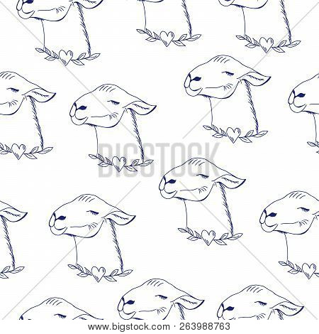 Happy Lama. Cute Hand Drawn, Kawai Style Lama Animal, Seamless Pattern. Monichromatic Drawing Of Cut