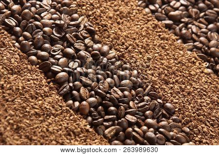Coffee Beans. Coffee Granules As Background Or Texture. Coffee Beans And Coffee Granules. Natural An