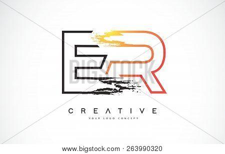 Er Creative Modern Logo Design Vetor With Orange And Black Colors. Monogram Stroke Letter Design.