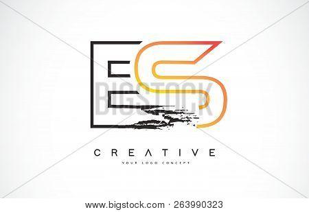 Es Creative Modern Logo Design Vetor With Orange And Black Colors. Monogram Stroke Letter Design.