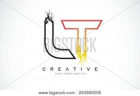 Lt L T Creative Modern Logo Design Vetor With Orange And Black Colors. Monogram Stroke Letter Design