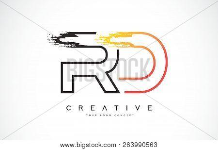 Rd R D Creative Modern Logo Design Vetor With Orange And Black Colors. Monogram Stroke Letter Design