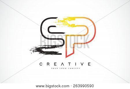 Sp S P Creative Modern Logo Design Vetor With Orange And Black Colors. Monogram Stroke Letter Design