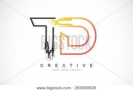 Td Creative Modern Logo Design Vetor With Orange And Black Colors. Monogram Stroke Letter Design.