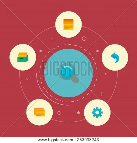 Set Of Task Manager Icons Flat Style Symbols With Search, Task, Task Box And Other Icons For Your We