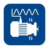 Vector monochrome flat design icon of vibration analysis.  Blue isolated symbol. poster