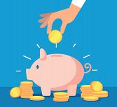 Piggy bank. Money box with falling gold coins. Deposit banking account and cash vector business concept. Illustration of savings dollar, piggybank and moneybox investing poster