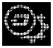 Halftone pixel Dash configuration gear icon. White pictogram with pixel geometric structure on a black background. Vector Dash configuration gear icon constructed of circle pixels. poster