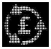 Halftone pixel pound circulation icon. White pictogram with pixel geometric pattern on a black background. Vector pound circulation icon created of round blots. poster