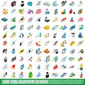 100 obligation icons set in isometric 3d style for any design illustration poster