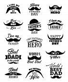 Happy Father Day lettering quotes with black mustaches, hat and ribbon. Best Dad or I love Daddy handwritten calligraphy, Dad my hero vector design poster