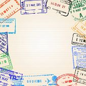 Travel background with different passport stamps poster