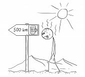 Cartoon stick drawing conceptual illustration of man walking thirsty without water through hot desert and found arrow sign with beer 500 km or kilometers symbol. poster