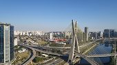 Famous cable-stayed bridge at Sao Paulo city. Brazil. Aerial view of Octavio Frias de Oliveira Bridge in Sao Paulo city. poster